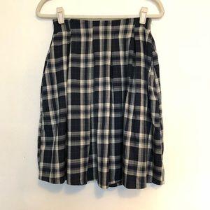 Navy and cream plaid skirt